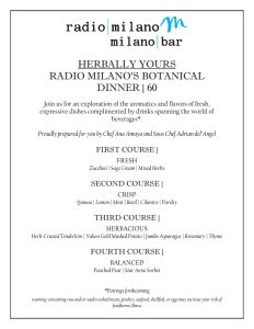 Herbally Yours: Radio Milano's Botanical Dinner