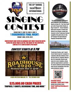 Talent Quest International $25K Singing Competition Qualifier