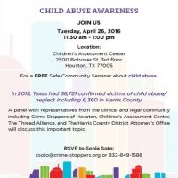 Child Abuse Awareness Safe Community Seminar